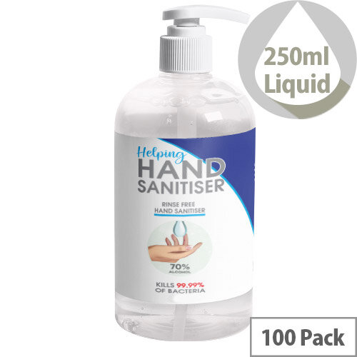 250ml Pump Hand Sanitiser - 70% Alcohol Based Hand Sanitising Liquid Pack of 100