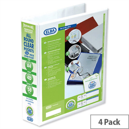 Elba Presentation A4 Ring Binder 50mm Capacity White 4 D-Ring 560330 Pack 4