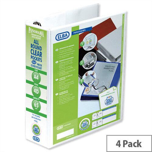 Elba Presentation A4 Ring Binder 65mm Capacity White 4 D-Ring 560340 Pack 4