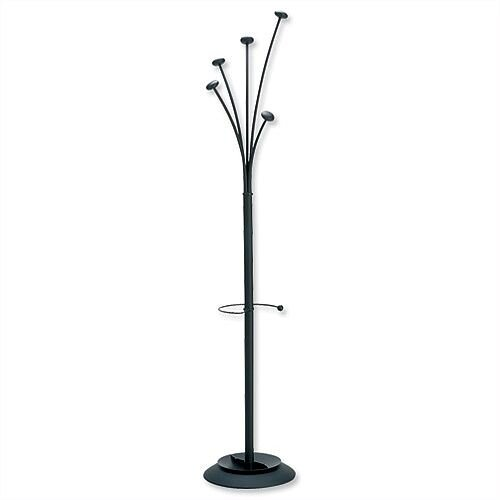 Black Hat and Coat Stand Tubular Steel with Umbrella Holder and 5 Pegs Festival
