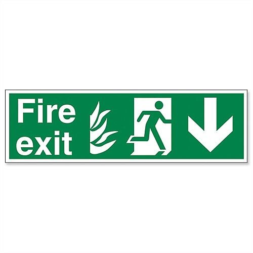 Safety Sign Fire Exit Running Man Arrow Down 150x450mm Self-Adhesive Vinyl
