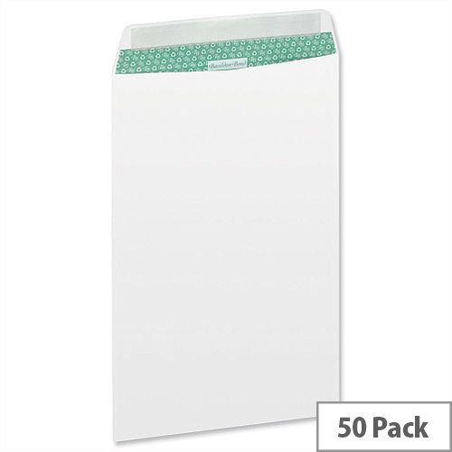 Basildon Bond C4 White 100gsm Envelopes Pocket Peel and Seal Recycled Pack 50 Ref L80281
