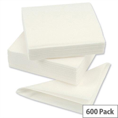 Linen Style Napkins High Quality Linen Texture White Tissue 390x390mm D04424 Pack 600
