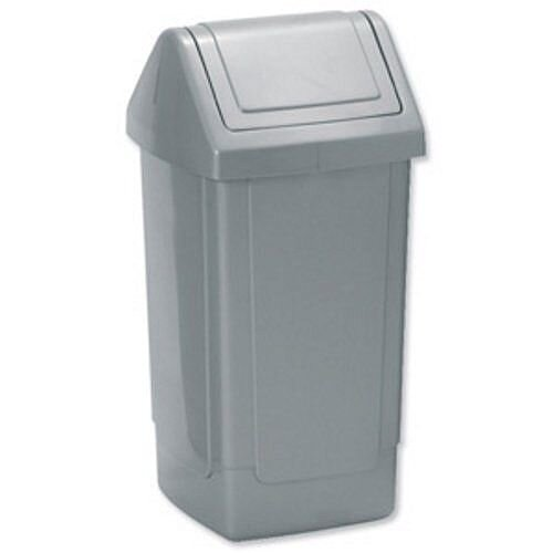 Addis Swing Top Waste Bin Grey Metallic 35 Litres 325 x 325 x 640mm