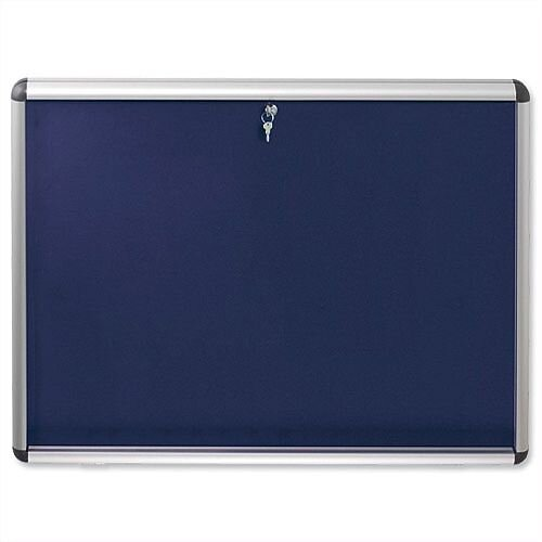 Nobo Display Cabinet A0 Noticeboard Visual Insert Lockable Blue
