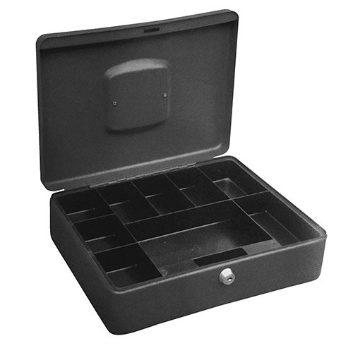 5 Star High Capacity Large 12 Inch Cash Box – 8 Coin Compartments, 1 Note Compartment, Lockable, 2 Keys Included, Titanium, Lock On Top, 75% Greater Capacity &1 Year Warranty (267274)