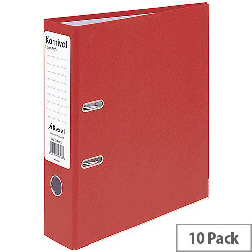Rexel Karnival Red A4 70mm Lever Arch File Pack of 10