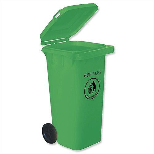 Wheelie Bin High Density Polythene with 2 Rear Wheels 120 Litre Green - Easy to clean and a hygienic solution to waste disposal - Lightweight yet robust, resistant to ultraviolet, frost and chemical exposure