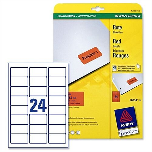 Avery Red Coloured Labels Laser 63.5x33.9mm 20 x 24 Labels (480 in Total)  L6034-20
