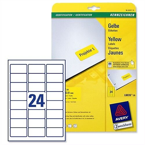 Avery Yellow Coloured Labels Laser 63.5x33.9mm 20 x 24 Labels (480 in Total)  L6035-20