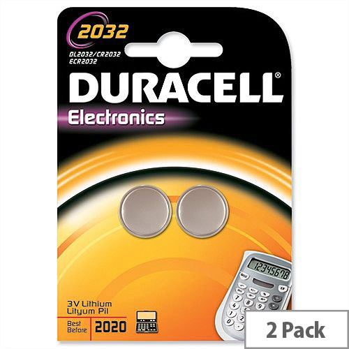 Duracell DL2032 Button Cell Coin Batteries – 220 mAh Capacity, 3 Volt, Lithium, 2 Pack, 10 Year Storage, High Quality, Suitable For Small Devices, Long Lasting &Triple Corrosion Protection (75072668)