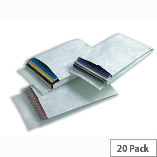Tyvek 406x305mm Peel and Seal White Gusset Envelopes Pack of 20