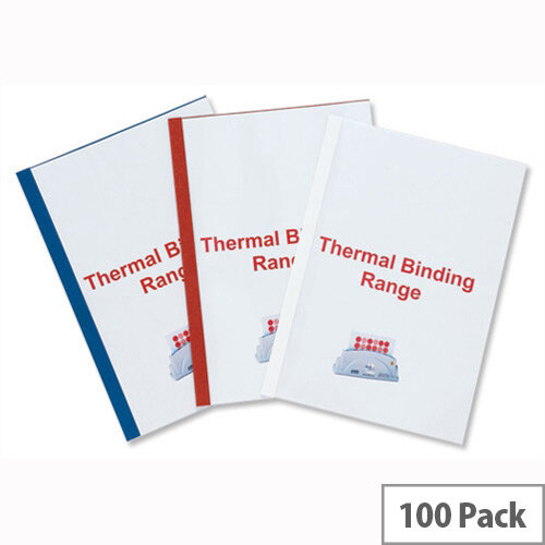 GBC Thermal Binding Covers 1.5mm Front PVC Clear Back Leathergrain A4 Red IB451201 Pack 100