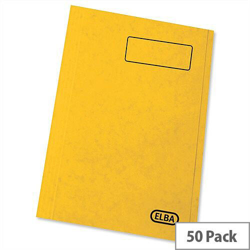 Elba StrongLine Square Cut Folder 320gsm 32mm Foolscap Yellow Pack 50 Ref 100090023