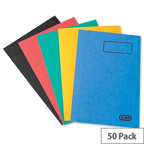 Elba StrongLine Square Cut Folder 320gsm 32mm Foolscap Assorted Pack 50 Ref 100090267