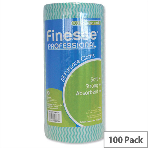 5 Star Professional All-purpose Cloths Roll Pack 100 Green W230xL500 7077