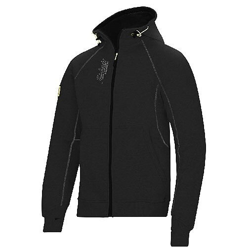 Snickers 2816 Zipped Logo Hoodie Size L Black