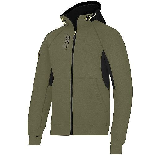 Snickers 2816 Zipped Logo Hoodie Olive Green/Black