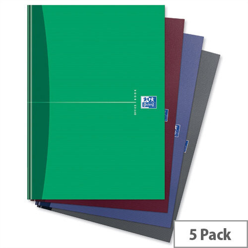 Oxford Office A4 Notebook Hard Cover Ruled 192 Pages Assorted Pack 5