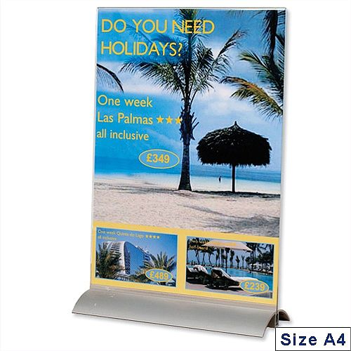 Acrylic Sign Holder With Metal Base A4 Clear Durable