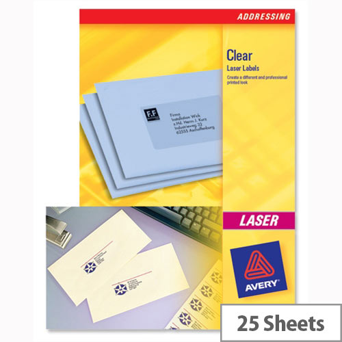 Avery L7551-25 Clear Mini Labels Laser 65 per Sheet 38.1 x 21.2mm