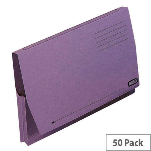 Elba Document Wallet Full Flap Foolscap Mauve Pack of 50