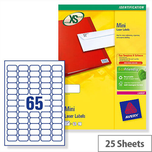 Avery Laser Labels L7651-25 Mini 65 per Sheet 38.1x21.2mm White 1625 Labels