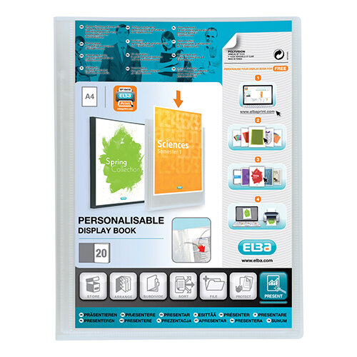 Elba 20 Pocket Display Folder A4 Clear Plastic Polyvision