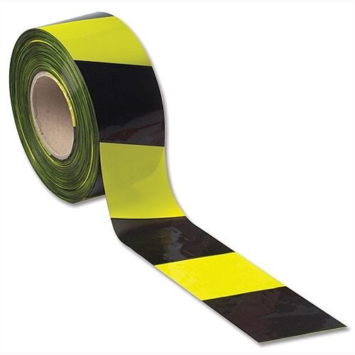 Barrier Tape Yellow and Black 72mm x 500m in Dispenser Box