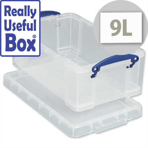 Really Useful Media Plastic Storage Box 9 Litre Stackable Clear