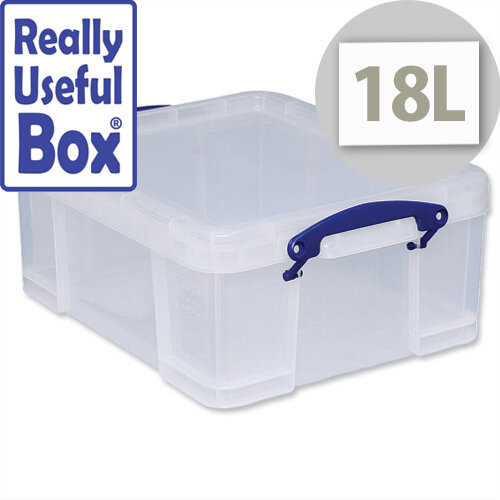 Plastic Storage Box 18 Litre Stackable Clear Really Useful