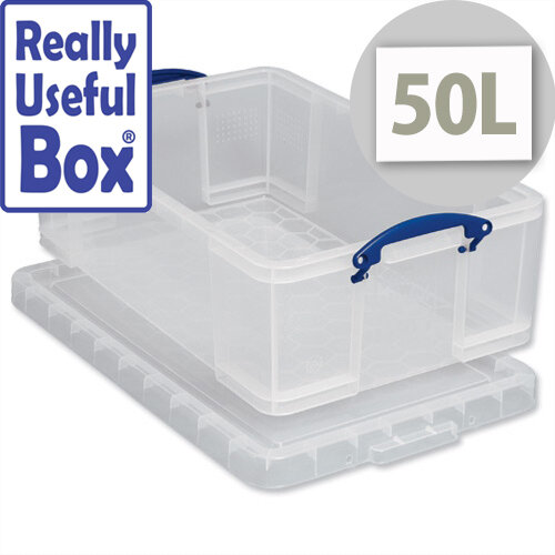 Plastic Storage Box 50 Litre Stackable Clear Really Useful  sc 1 st  Hunt Office & Really Useful Plastic Storage Box 50 Litre Stackable Clear ...
