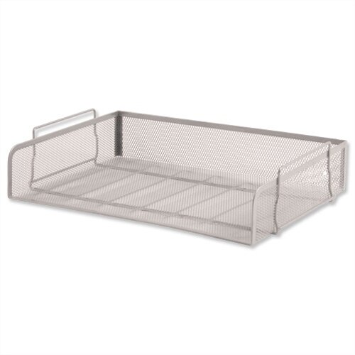 Osco Mesh Wide Letter Tray Side Load Silver Stackable Landscape Foolscap