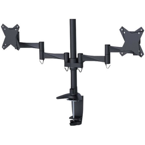 "NewStar Full Motion Dual Desk Mount (clamp &grommet) for two 10-27"" Monitor Screens, Height Adjustable - Black - Adjustable arm for 2 LCD displays - black - screen size: 10""-27"" - desk-mountable"