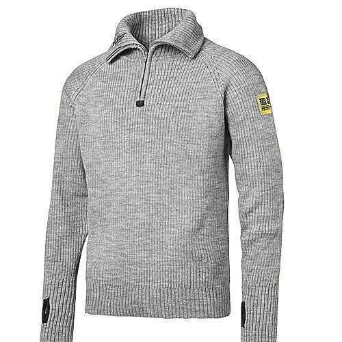 Snickers 2905 ½-Zip Wool Sweater Size XXXL Grey-Melange