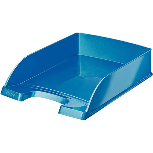 Leitz WOW Bright Letter Tray Stackable Glossy Metallic Blue