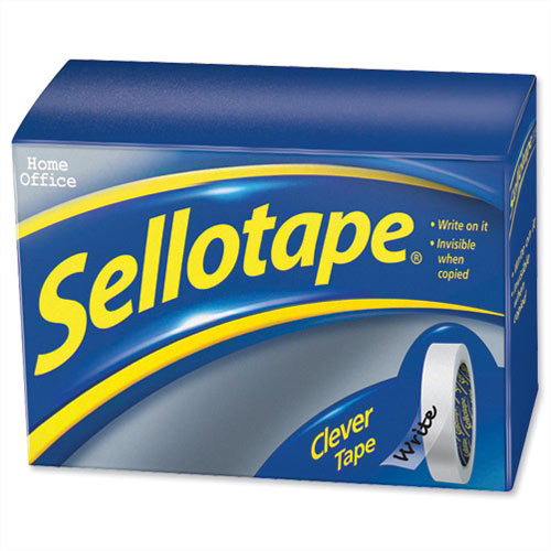 Sellotape Clever Tape Roll Write On 18mm x 25m Matt Pack 8