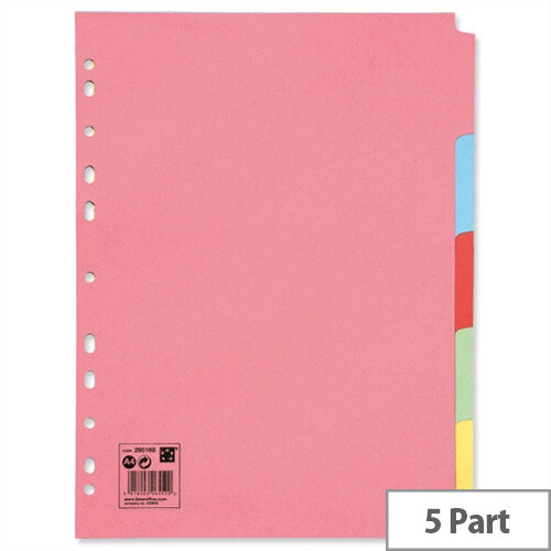 5-Part Subject Dividers A4 Multipunched Recycled Assorted 5 Star