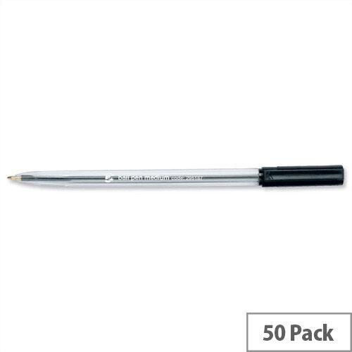 Ballpoint Pen Black Medium Clear Barrel Pack 50 5 Star