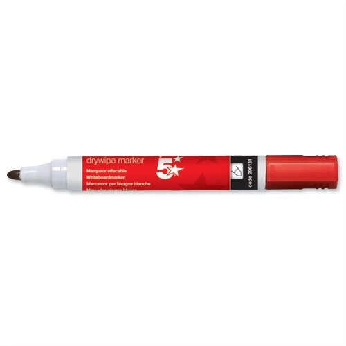 5 Star Red Drywipe Markers Bullet Tip Pack 12