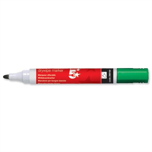 5 Star Green Whiteboard Markers Bullet Tip Pack 12