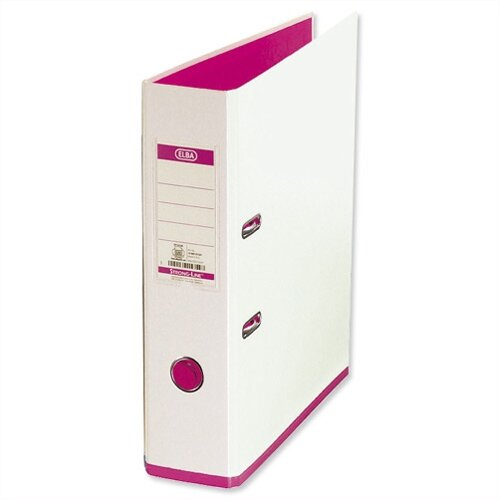 Elba MyColour Lever Arch File 80mm Polypropylene A4 White and Pink