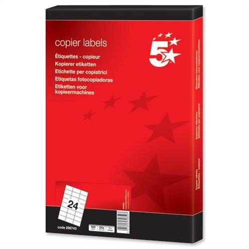 24 Labels per Sheet Copier 70 x 37mm 2400 5 Star