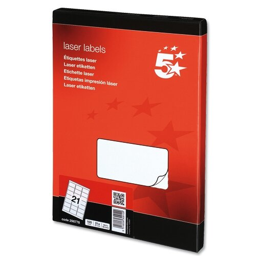 5 Star Address Laser Labels 635 x 381mm White (2100 Labels)