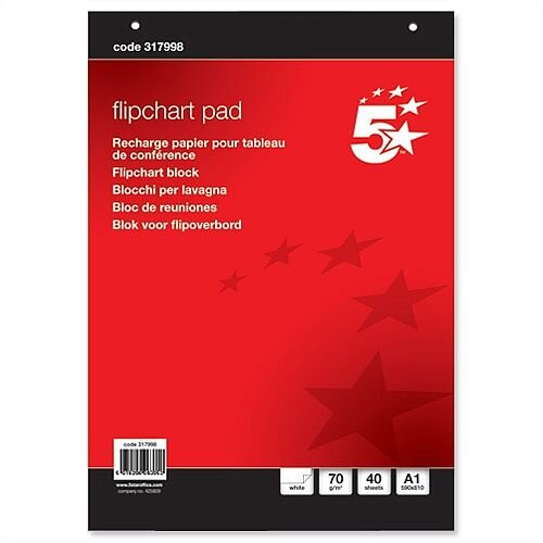 A1 Flipchart Pad Perforated 40 Sheets Plain Pack 5 5 Star