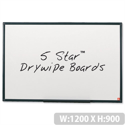 Whiteboard Lightweight 1200 x 900mm 5 Star – Wall-Mountable, Accessory Kit, Non-Magnetic, Graphite Frame, Home Or Office, Drywipe &Wall Fixing Method (296980)