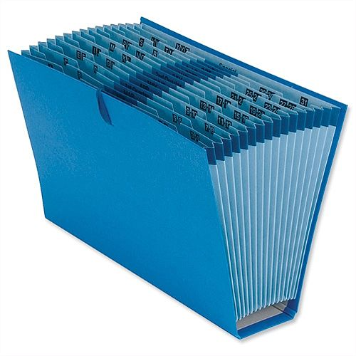 Foolscap Expanding File with Cloth Ties 16 Pockets A-Z Quarters 1-31 Blue 5 Star