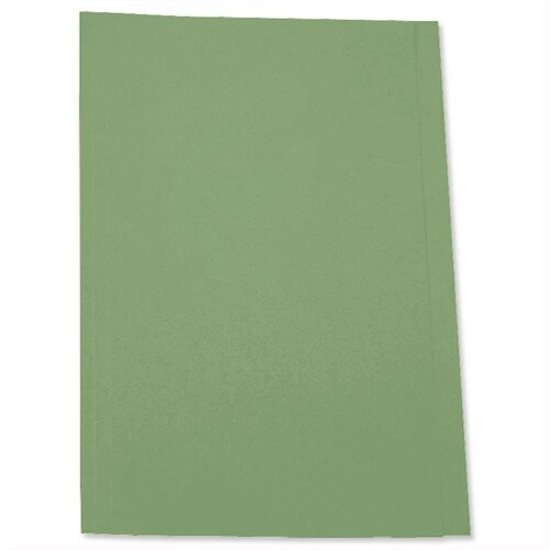 Pre-punched Square Cut Folder Recycled Foolscap Green Pack 100 5 Star