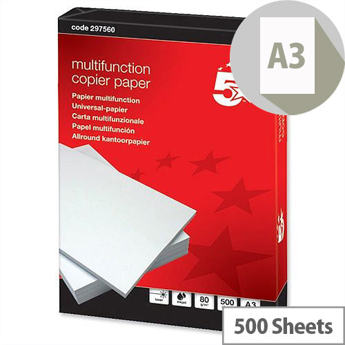 A3 White 80gsm Multifunctional Printer Paper Ream of 500 Sheets 5 Star