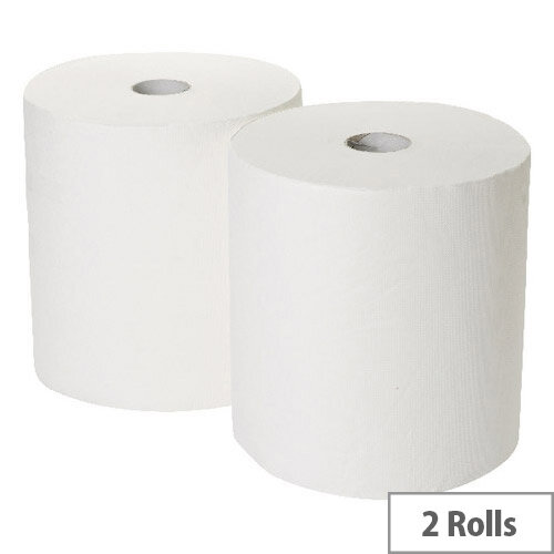 2Work Industrial &Garage Dispenser Paper Cleaning Rolls 3-Ply White 170m x 250mm Pack of 2 White Rolls GEM503B
